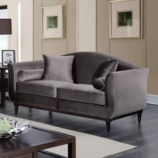 Furniture Of America Lisbel Dark Grey Flannelette Contemporary Loveseat