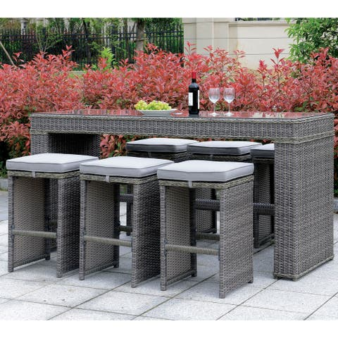 Furniture of America Zons Contemporary Grey Metal 7-piece Bar Set