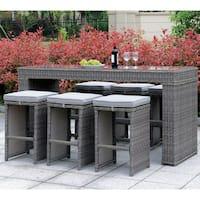 Furniture of America Liley Grey Wicker 7-piece Bar Set