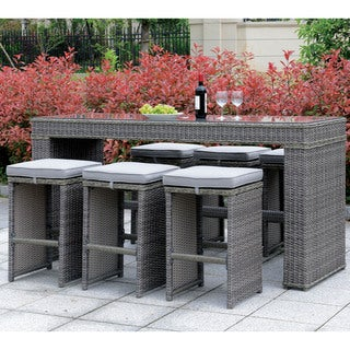 Furniture of America Liley Grey Wicker 7-piece Bar Set