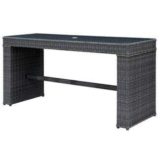 Furniture of America Liley Contemporary Outdoor Grey Wicker Bar Table