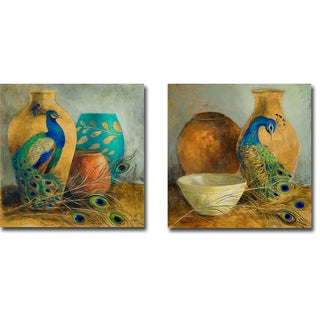 Peacock Vessels I and II by Lanie Loreth 2-piece Gallery-Wrapped Canvas Giclee Art Set