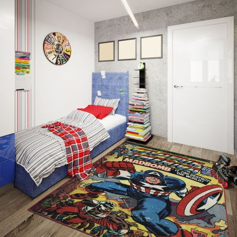 "Captain America Area Rug by Gertmenian (4'6"" x 6'6"") - 4'6"" x 6'6"""