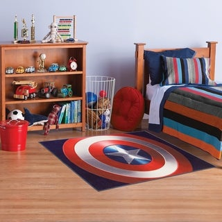 Gertmenian Marvel Captain America Red/White/Blue Area Rug   4u00276 X