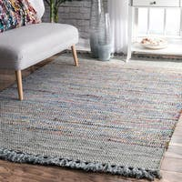 nuLoom Grey Cotton Hand-loomed Flatweave Tassel Area Rug (5' x 8')