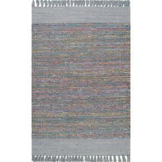 nuLOOM Grey Cotton Hand-loomed Flatweave Tassel Area Rug (7 6 x 9 6)