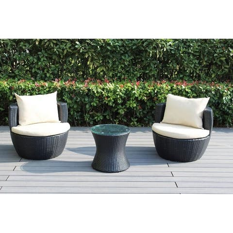 Ohana Outdoor Patio 3 Piece Black Wicker Conversation Set