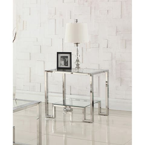 Best Master Furniture GW121 Glass End Table