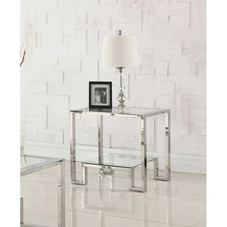 Best Master Furniture GW121 Silvertone Glass Stainless Steel End Table
