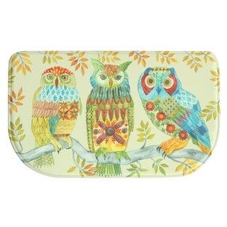 """Printed Memory Foam Embroidery Owls kitchen rug by Bacova - 1'6"""" x 2'6"""""""