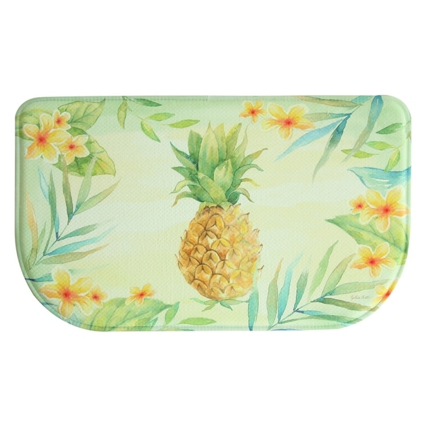 Shop Printed Memory Foam Tropical Pineapple Kitchen Rug By