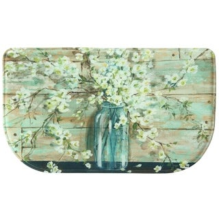 "Printed Memory Foam Blossoms in Jar kitchen rug by Bacova - 1'6"" x 2'6"""