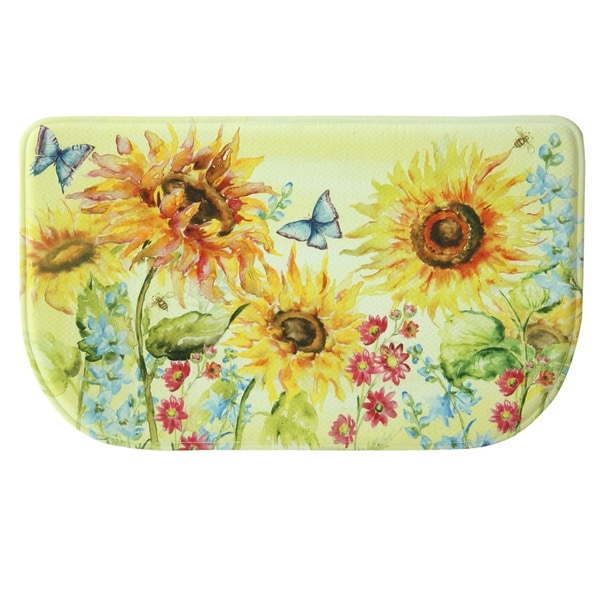Shop Printed Memory Foam Watercolor Sunflower Kitchen Rug