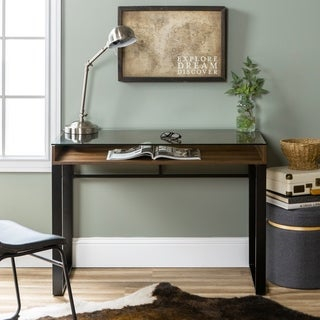 42-inch Modern Glass Top Writing Desk