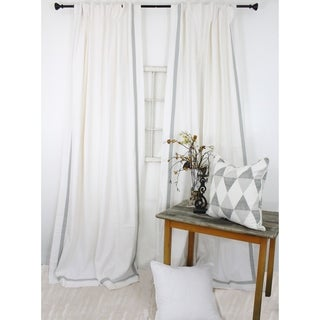 American Colors Heritage Cotton Grey Trimmed White Curtain Panels