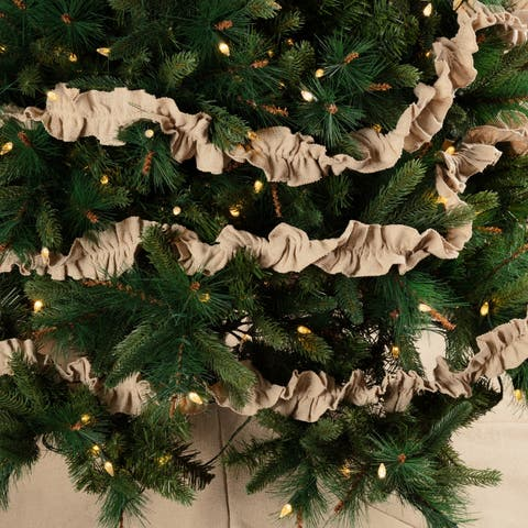 Tan Farmhouse Christmas Holiday Decor VHC Vintage Burlap Solid Garland Set of 3 Cotton Solid Color