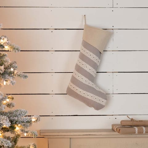 Farmhouse Christmas Holiday Decor VHC Margot Stocking Fabric Loop Felt Striped Lace Chambray - 20x12