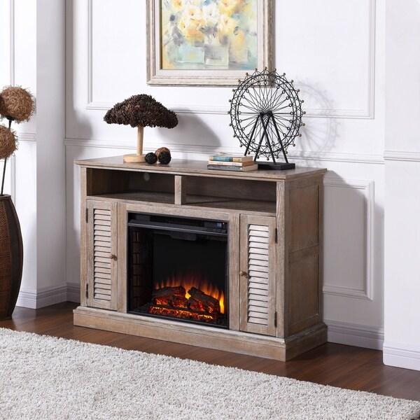 Copper Grove Hertz Burnt Oak Electric Fireplace TV Stand