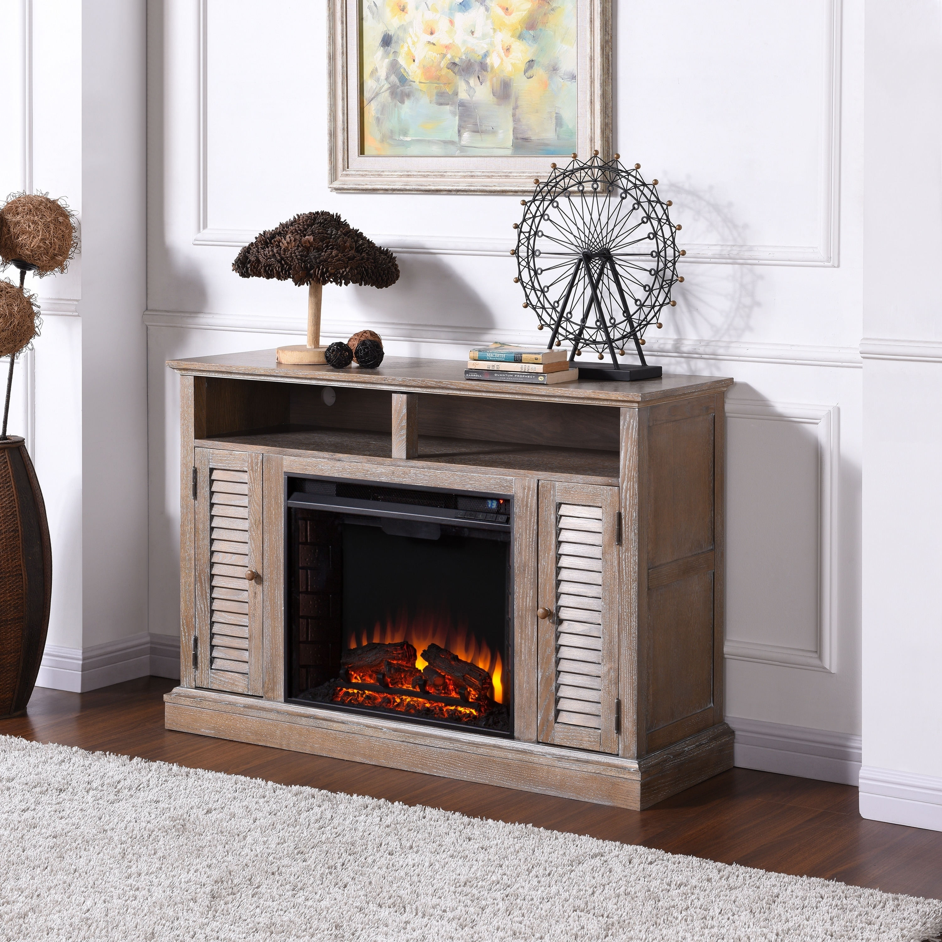 legends tv expand click fireplace white electric to stand p furniture oak creek golden
