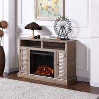 Havenside Home Lincolnville Burnt Oak Infrared Fireplace TV Stand