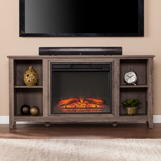 Havenside Home Lincolnville Mocha Grey Electric Fireplace TV Stand