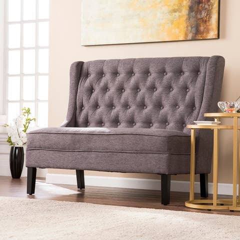 Lincoln Charcoal High-Back Tufted Settee Bench