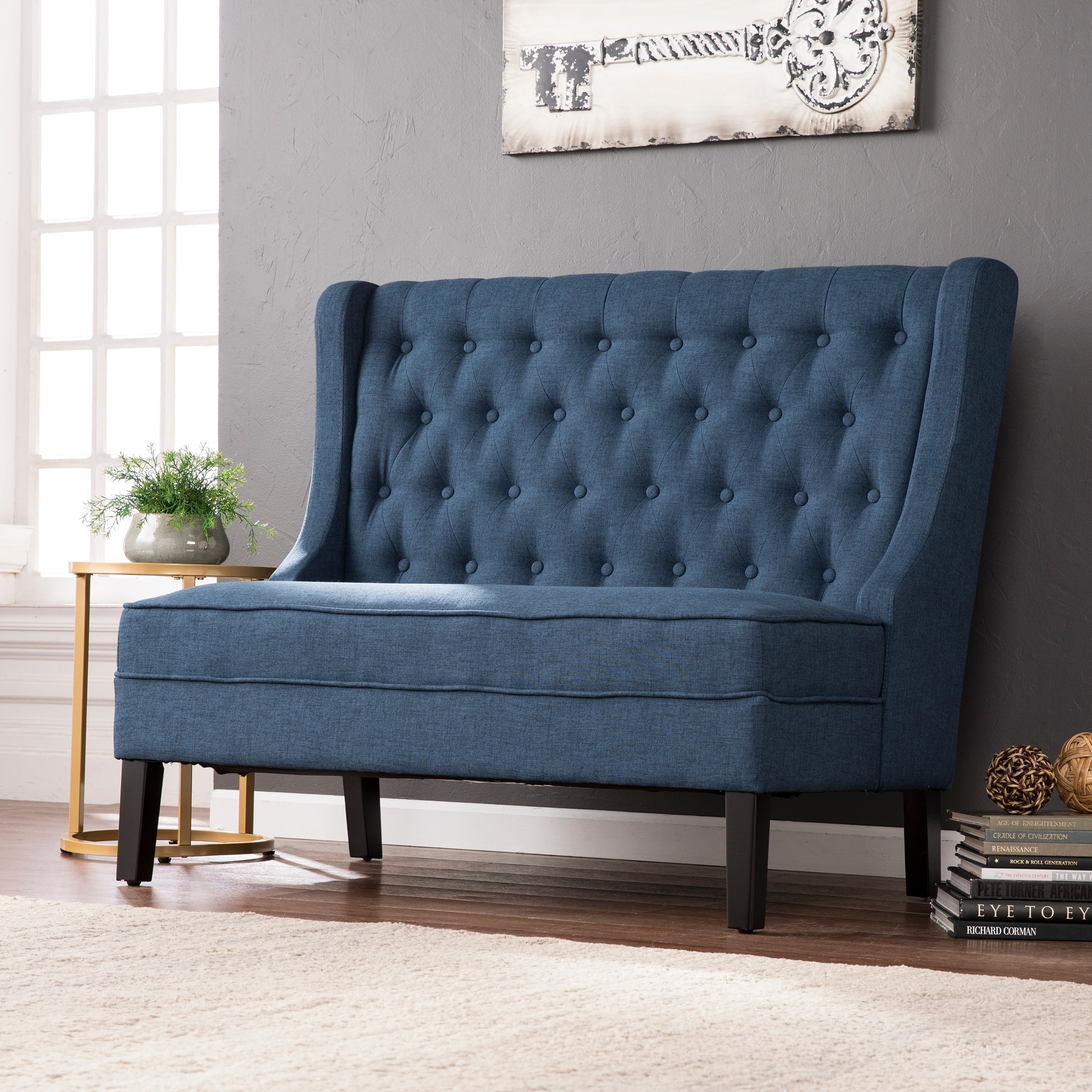 Harper Blvd Lincoln Charcoal HighBack Tufted Settee Bench eBay