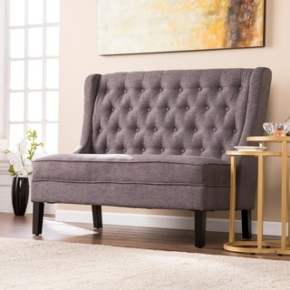 Harper Blvd Lincoln Charcoal High Back Tufted Settee Bench