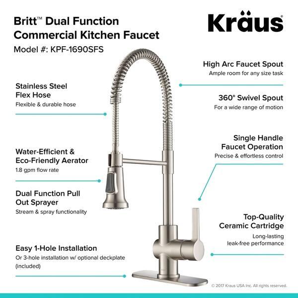 Shop Kraus KPF-1690 Britt 1-Handle 2-Function Sprayhead ...