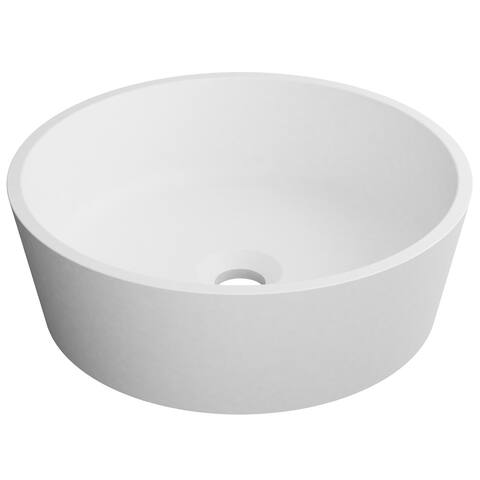 KRAUS Natura KSV-1MW Round Vessel Composite Bathroom Matte Finish Nano Coating White Stone Acrylic Sink