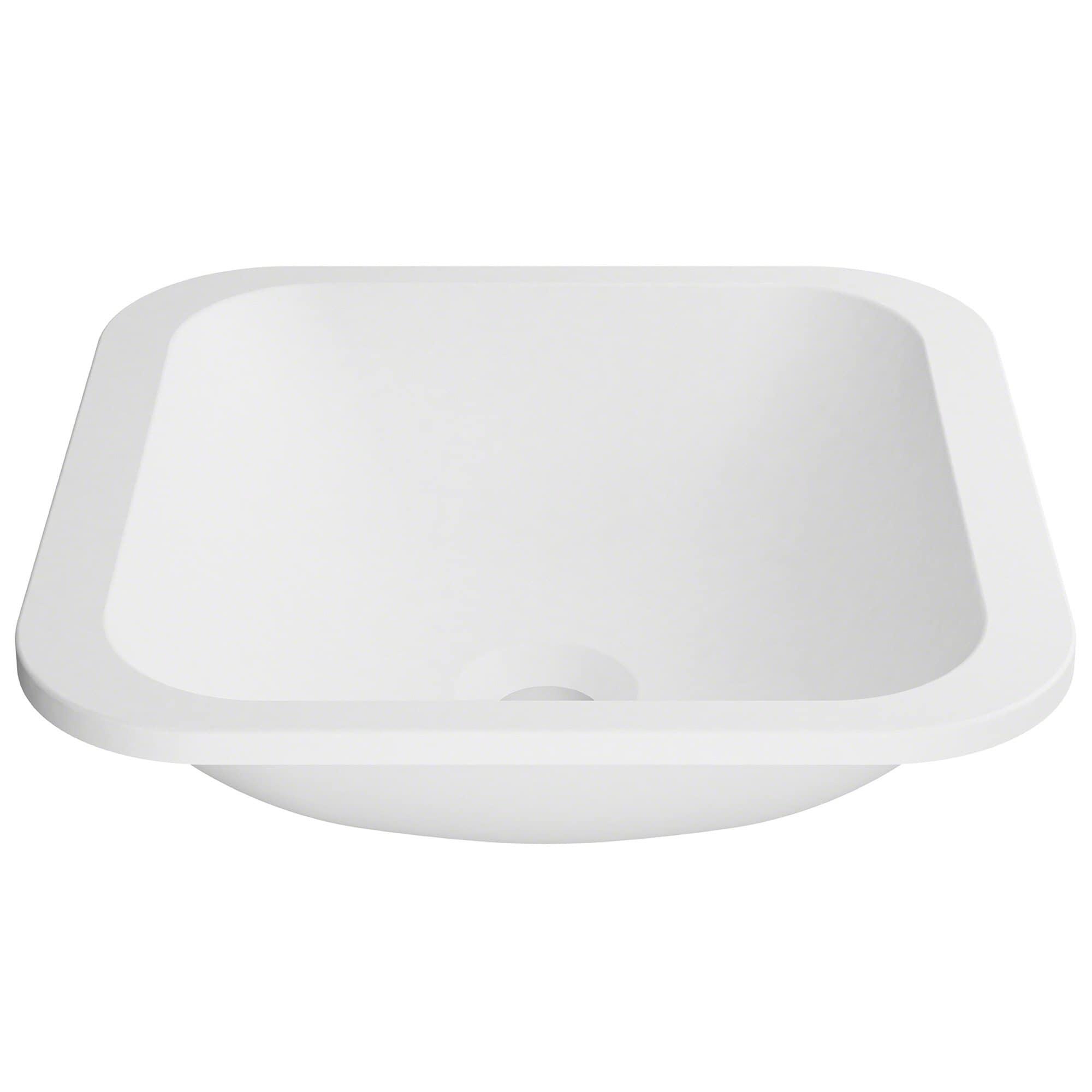Kraus Natura Ksu 7mw Square Undermount Composite Bathroom Matte Finish Nano Coating White Stone Acrylic Sink