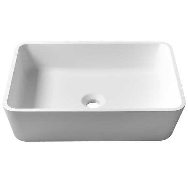 KRAUS Natura KSV-2MW Rectangle Vessel Composite Bathroom Matte Finish Nano Coating White Stone Acrylic Sink