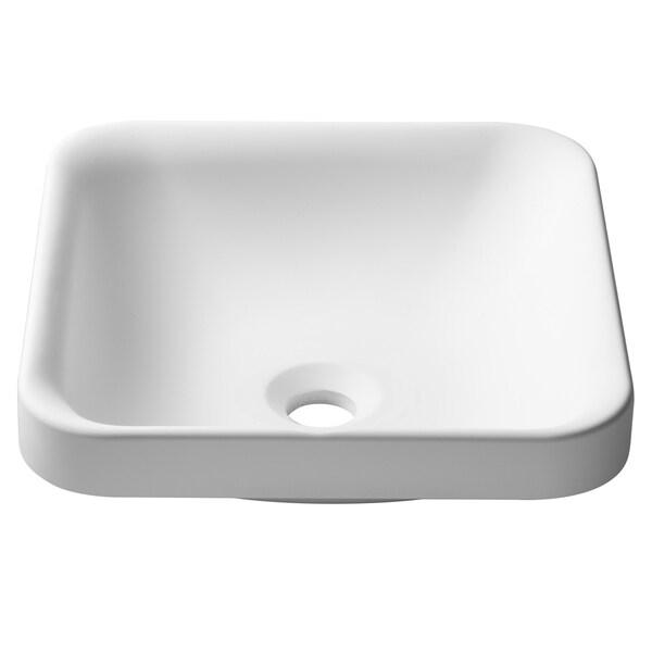 KRAUS Natura KSR-9MW Square Semi-Recessed Composite Bathroom Matte Finish Nano Coating White Stone Acrylic Sink