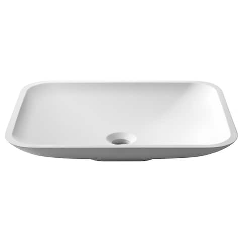 KRAUS Natura KSV-4MW Rectangle Vessel Composite Bathroom Matte Finish Nano Coating White Stone Acrylic Sink