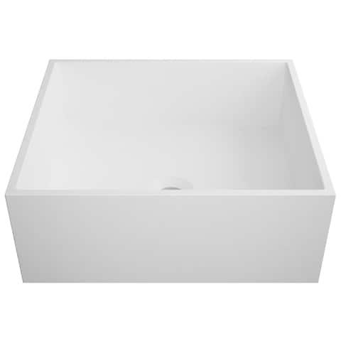 KRAUS Natura KSV-5MW Square Vessel Composite Bathroom Matte Finish Nano Coating White Stone Acrylic Sink