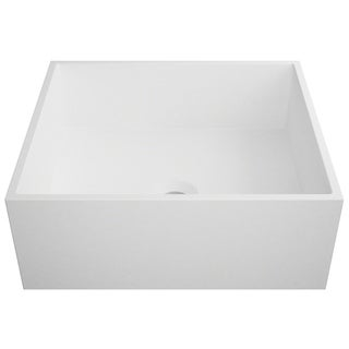 KRAUS Natura KSV-5MW Square Vessel Composite Bathroom Matte Finish Nano Coating White Stone Acrylic Sink