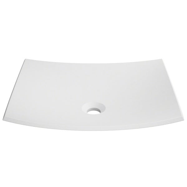 KRAUS Natura KSV-3MW Rectangle Vessel Composite Bathroom Matte Finish Nano Coating White Stone Acrylic Sink