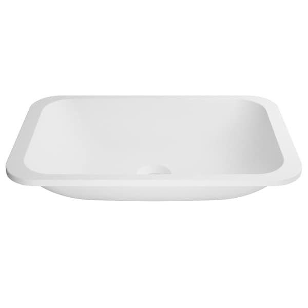 KRAUS Natura KSU-8MW Rectangle Undermount Composite Bathroom Matte Finish Nano Coating White Stone Acrylic Sink