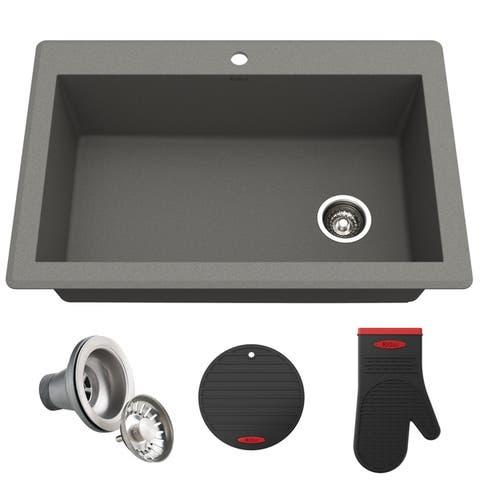 KRAUS Forteza Granite 33 inch Undermount Drop-in Kitchen Sink
