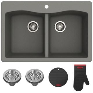 Kraus KGD-52 Forteza Undermount Drop-in 33 inch Granite Kitchen Sink