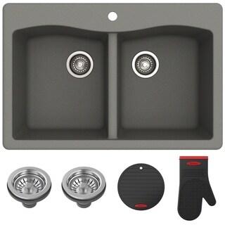 Kraus KGD-52 Forteza 33-inch Undermount Drop-in Dual Mount 50/50 Double Bowl Granite Kitchen Sink