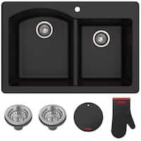 Kraus KGD-50 Forteza 33-in Undermount Drop-in Dual Mount 60/40 2-Bowl Granite Kitchen Sink, Strainers, Mitt, Trivet