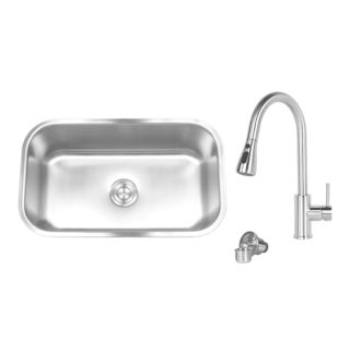 18 gauge Stainless Steel Undermount 30-inch Single Bowl Kitchen Sink With Kitchen Pull Out Faucet