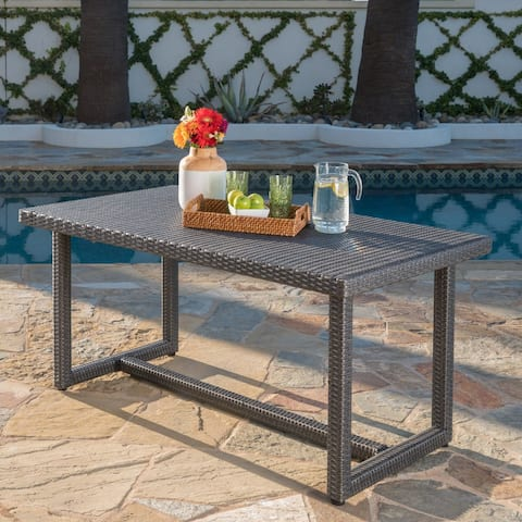 "Santa Rosa Outdoor 59-inch Rectangle Wicker Dining Table by Christopher Knight Home - 28""H x 67""L x 34""D"