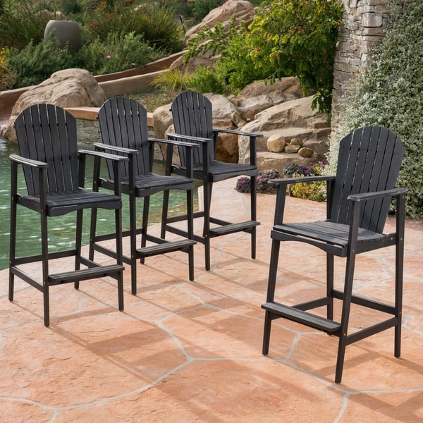 Malibu Outdoor Wood Acacia Barstool (Set of 4) by Christopher Knight Home. Opens flyout.