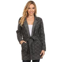 High Secret Women's Thick Knit Diamond Print Open Front Cardigan