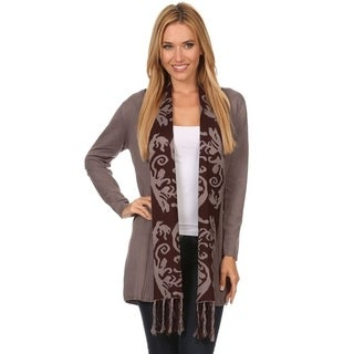 High Secret Women's Print Collar Fringe Detail Open Front Cardigan (4 options available)