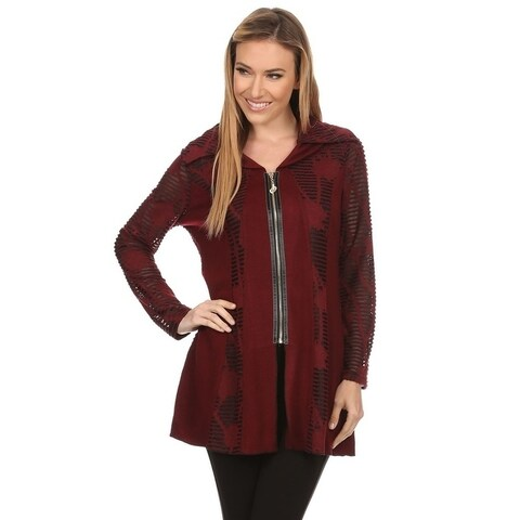 High Secret Women's Solid Color Cutout Detailing with Lining Zip-Up Jacket