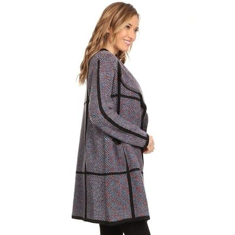 High Secret Women's Thick Knit Chevron Print Open Front Cardigan