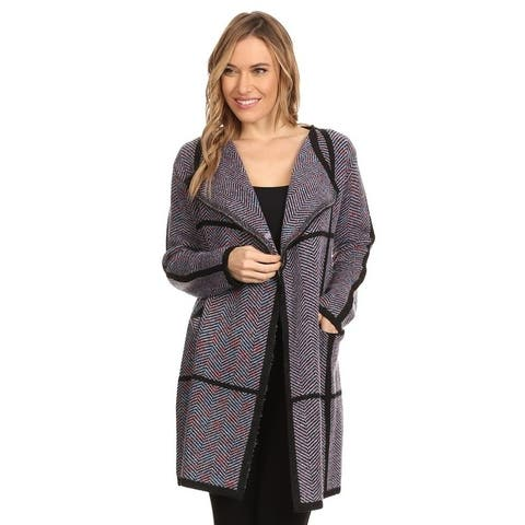 High Secret Women's Thick Knit Chevron Print Open Front Cardigan